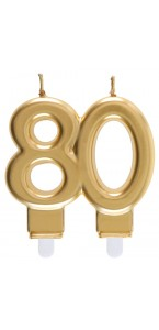 Bougie anniversaire 80 ans or