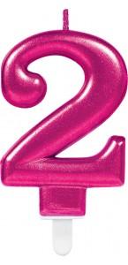 Bougie anniversaire Chiffre 2 rose