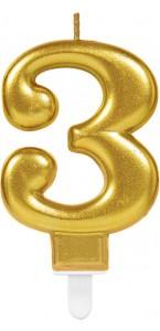 Bougie anniversaire Chiffre 3 or