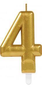 Bougie anniversaire Chiffre 4 or