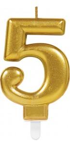 Bougie anniversaire Chiffre 5 or