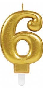 Bougie anniversaire Chiffre 6 or