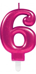 Bougie anniversaire Chiffre 6 rose