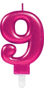 Bougie anniversaire Chiffre 9 rose