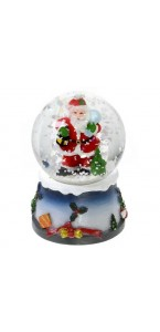 Boule à neige Père Noël led couleur changeante 9,5 x 12 cm