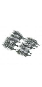 Lot de 6 branches de sapin enneigés Noël sur tige