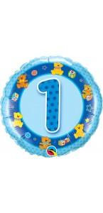 Ballon  1 an Bleu Oursons 45 cm