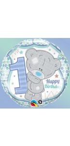 Ballon 1st Birthday bleu 45 cm