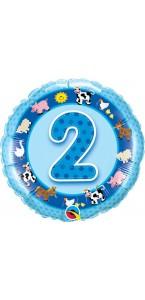 Ballon  2 ans bleu Animaux de la ferme 45 cm