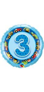 Ballon  3 ans bleu Engins et travaux 45 cm