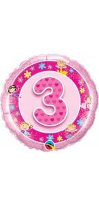 Ballon 3 ans rose Fées 45 cm