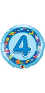 Ballon  4 ans bleu Espace 45 cm