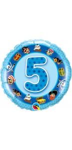 Ballon  5 ans bleu Pirate 45 cm