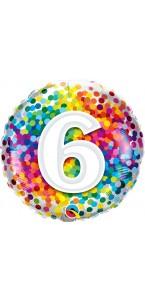 Ballon 6 ans pois multicolores 45 cm