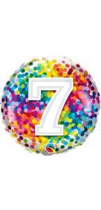 Ballon 7 ans pois multicolores 45 cm