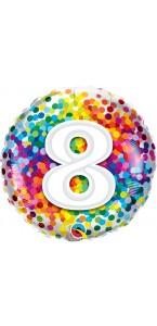 Ballon 8 ans pois multicolores 45 cm