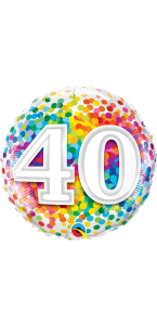 Ballon anniversaire 40 ans Rainbow Confetti 45 cm
