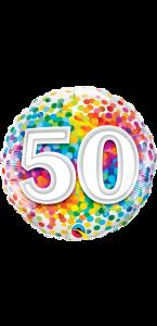Ballon anniversaire 50 ans Rainbow Confetti 45 cm