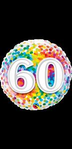 Ballon anniversaire 60 ans Rainbow Confetti 45 cm