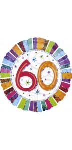 Ballon Anniversaire 60 ans rayures multicolores