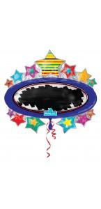 Ballon ardoise étoiles brillantes avec stylo 78 x 71 cm