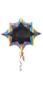 Ballon ardoise rayures avec stylo 88 x 73 cm