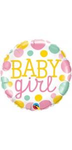Ballon baby girl rose à pois 45 cm