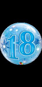 Ballon Bubble anniversaire 18 ans Etoile bleu 55 cm