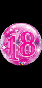 Ballon Bubble anniversaire 18 ans Etoile rose 55 cm