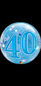Ballon Bubble anniversaire 30 ans Etoile bleu 55 cm
