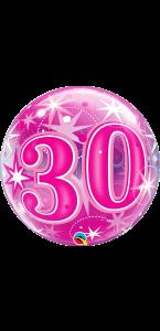 Ballon Bubble anniversaire 30 ans Etoile rose 55 cm