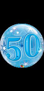 Ballon Bubble anniversaire 40 ans Etoile bleu 55 cm