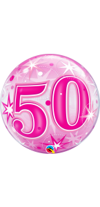 Ballon Bubble anniversaire 50 ans Etoile rose 55 cm