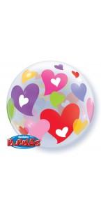 Ballon Bubble cœurs transparent