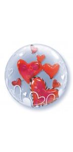 Ballon Bubble double cœurs flottants