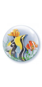Ballon Bubble double Poissons transparent