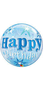 Ballon Bubble Happy Birthday Etoile bleu 55 cm