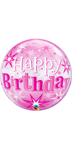 Ballon Bubble Happy Birthday Etoile rose 55 cm