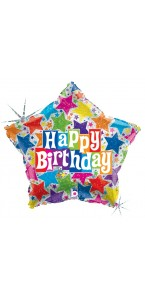 Ballon Bubble Happy Birthday explosion de fête 55 cm