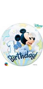 Ballon bubble Mickey 1st Birthday 55 cm