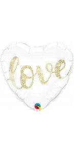 Ballon Cœur Love paillettes or 45 cm