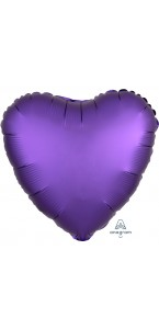 Ballon cœur satin luxe violet 43 cm