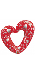 Ballon cœurs rouge/argent