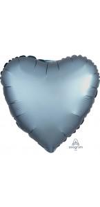 Ballon coeur satin luxe bleu acier 43 cm