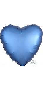 Ballon coeur satin luxe bleu azur 43 cm