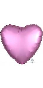 Ballon coeur satin luxe rose 43 cm