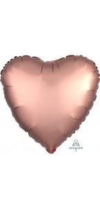 Ballon coeur satin luxe vieux rose 43 cm