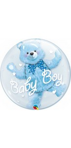 Ballon Double bubble Ourson bleu 60 cm