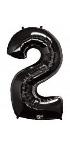 Ballon forme chiffre 2 aluminium noir