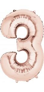 Ballon forme Chiffre 3 cuivre 53 x 88 cm
